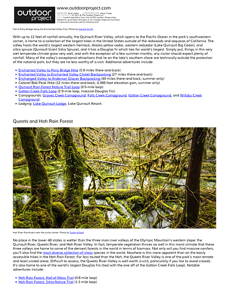 Olympic National Park Field Guide
