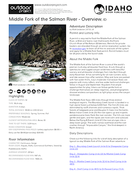 Middle Fork of the Salmon River - Overview Field Guide