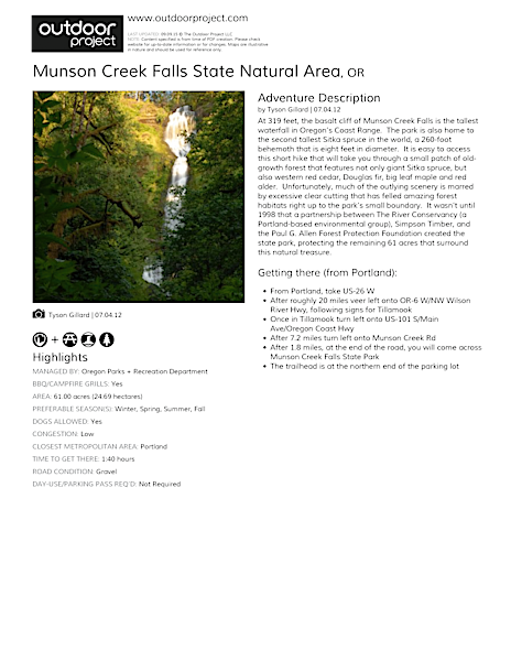 Munson Creek Falls State Natural Area Field Guide