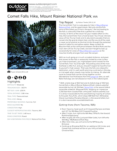 Comet Falls Hike Field Guide