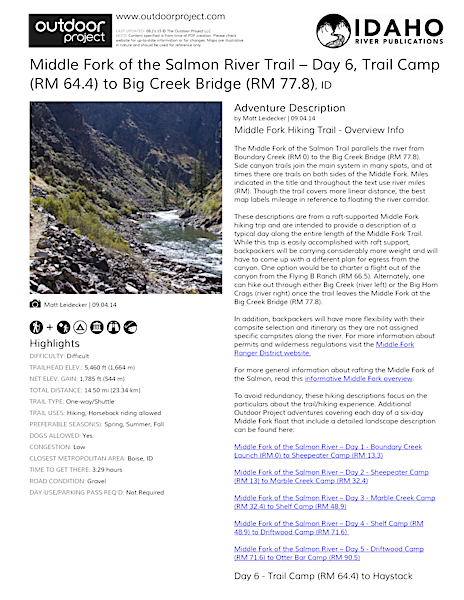 Middle Fork of the Salmon River Trail – Day 6 Field Guide