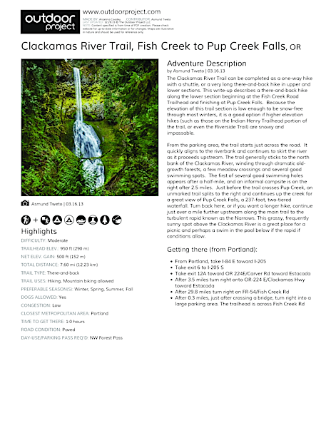 Clackamas River Trail Field Guide