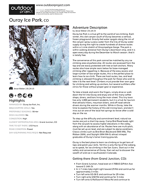 Ouray Ice Park Field Guide