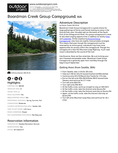 Boardman Creek Group Campground Field Guide