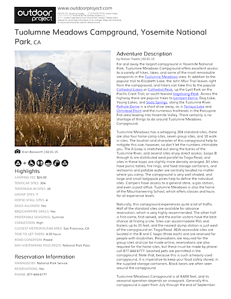 Tuolumne Meadows Campground Field Guide