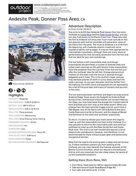 Andesite Peak Field Guide