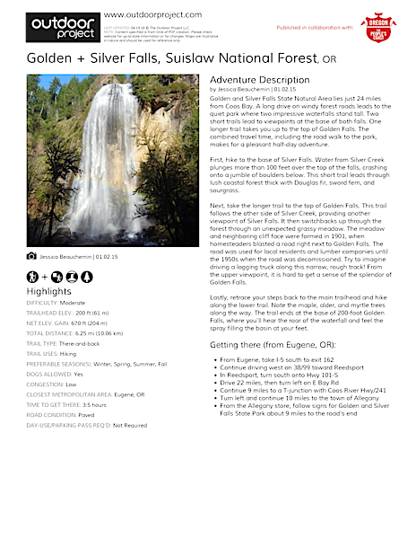 Golden + Silver Falls Field Guide