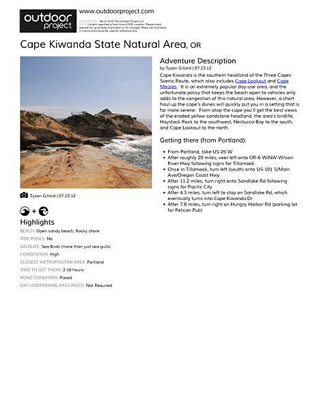 Cape Kiwanda State Natural Area Field Guide