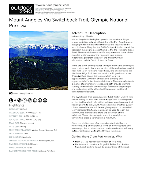 Mount Angeles Via Switchback Trail Field Guide