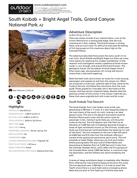 South Kaibab + Bright Angel Trails Field Guide