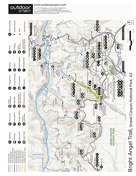 South Kaibab + Bright Angel Trails Trail Map
