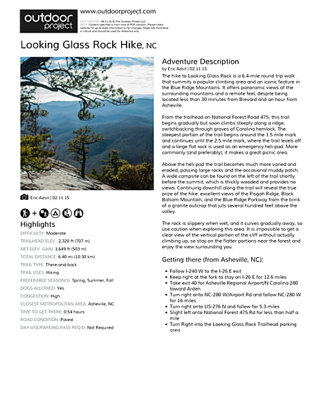 Looking Glass Rock Hike Field Guide
