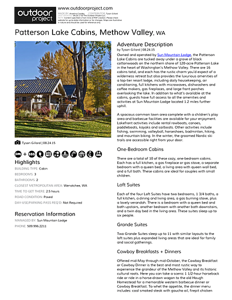 Patterson Lake Cabins Field Guide