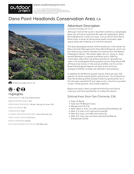 Dana Point Headlands Conservation Area Field Guide