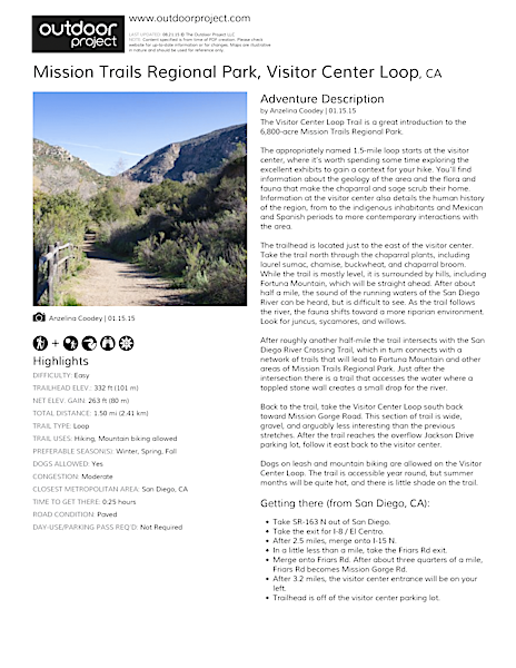 Mission Trails Regional Park, Visitor Center Loop Field Guide