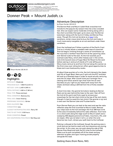 Donner Peak + Mount Judah Field Guide