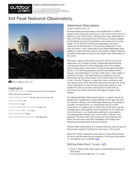 Kitt Peak National Observatory Field Guide