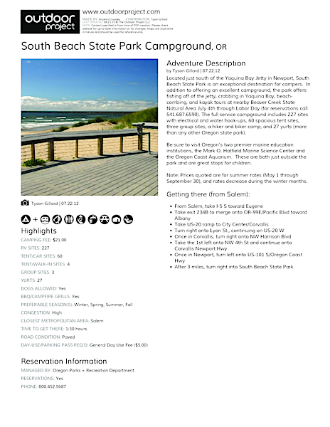 South Beach State Park Campground Field Guide