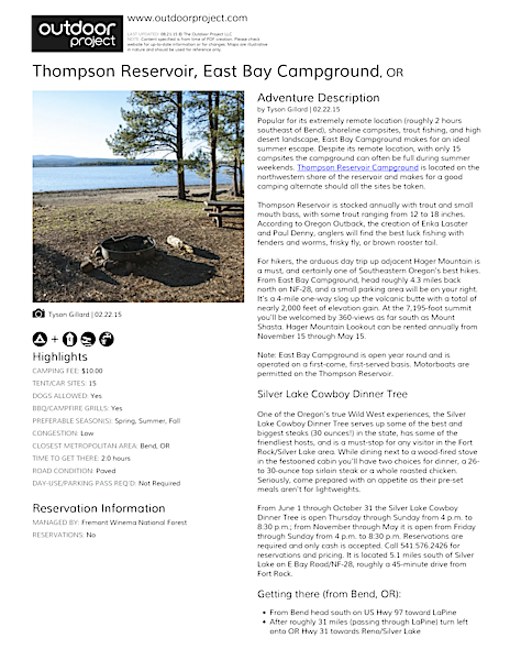 Thompson Reservoir, East Bay Campground Field Guide