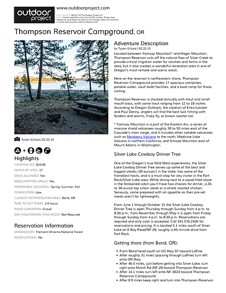 Thompson Reservoir Campground Field Guide