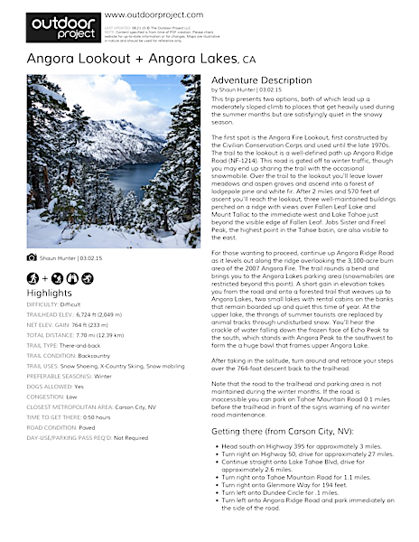 Angora Lookout + Angora Lakes Field Guide