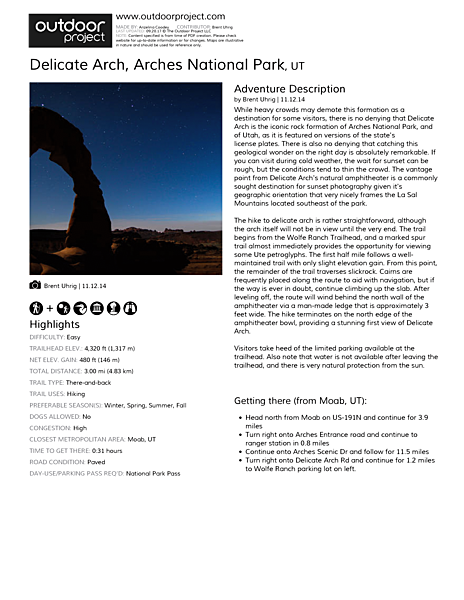 Delicate Arch Field Guide