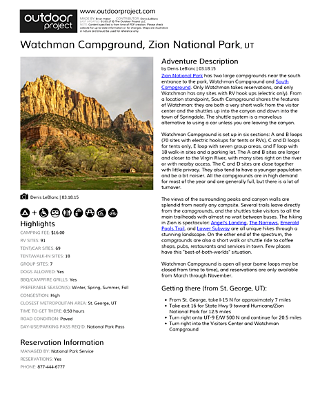 Watchman Campground Field Guide