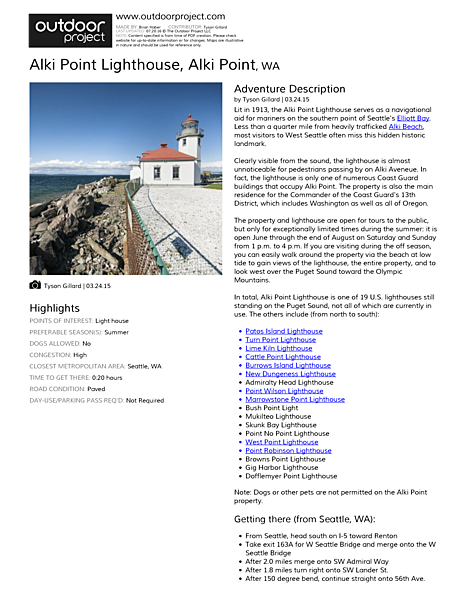 Alki Point Lighthouse Field Guide