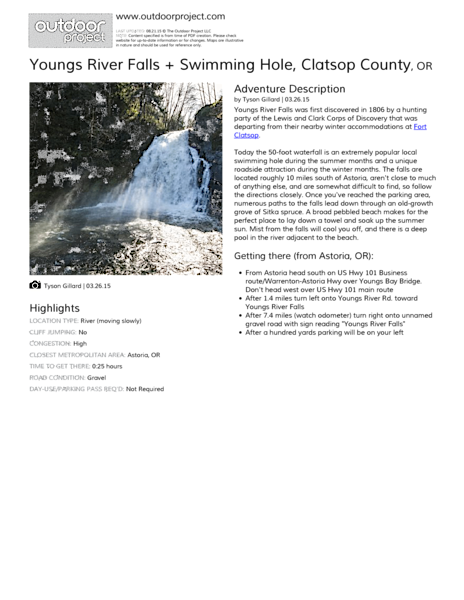 Youngs River Falls + Swimming Hole Field Guide