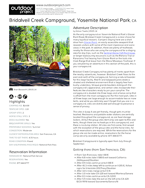 Bridalveil Creek Campground Field Guide