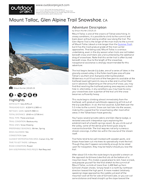 Mount Tallac, Glen Alpine Trail Field Guide