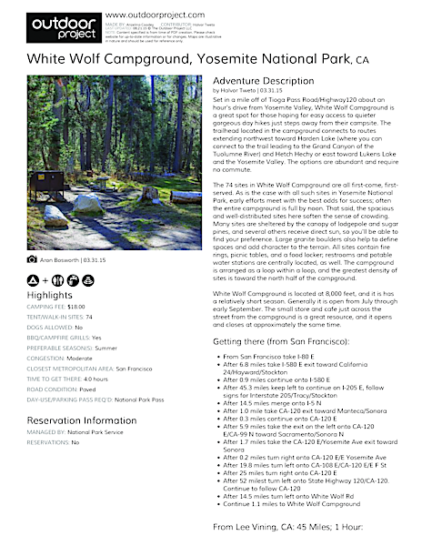 White Wolf Campground Field Guide