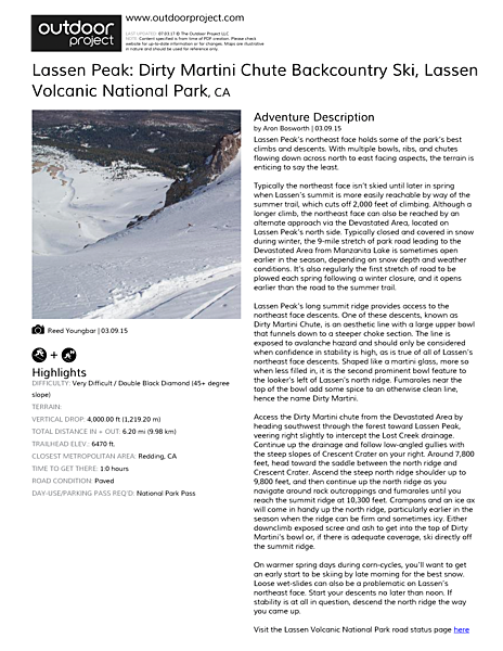 Lassen Peak: Dirty Martini Chute Backcountry Ski Field Guide