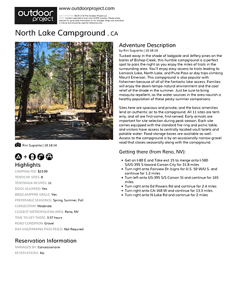 North Lake Campground  Field Guide