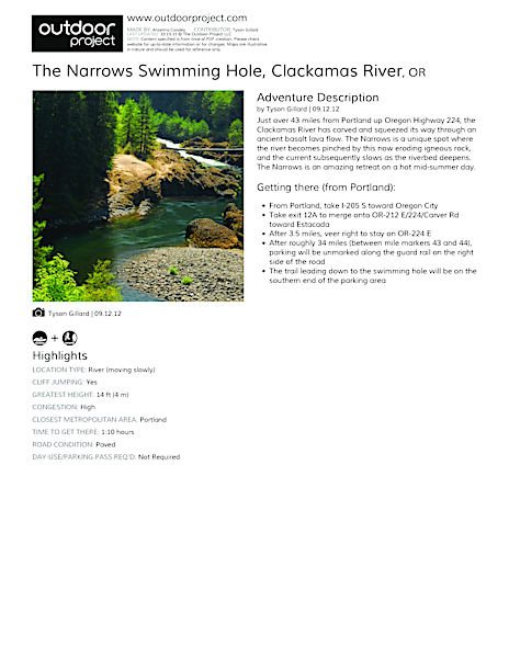 The Narrows Swimming Hole Field Guide