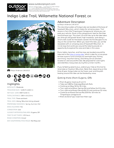 Indigo Lake Trail Field Guide