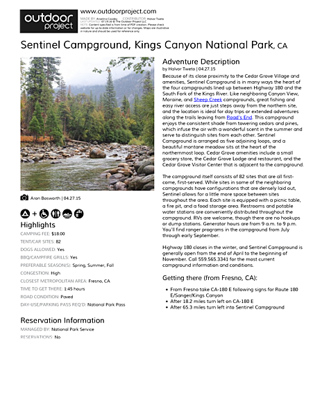 Sentinel Campground Field Guide
