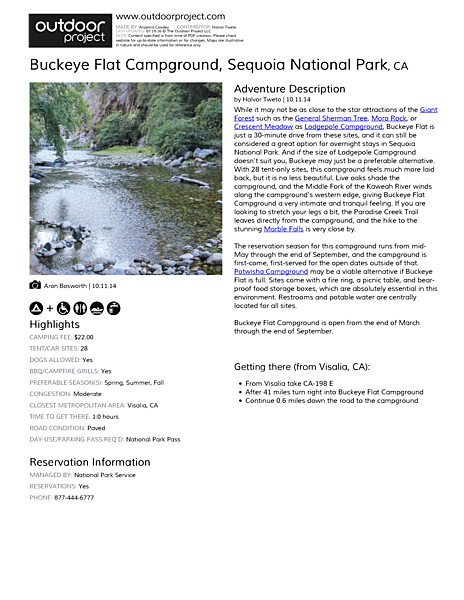 Buckeye Flat Campground Field Guide