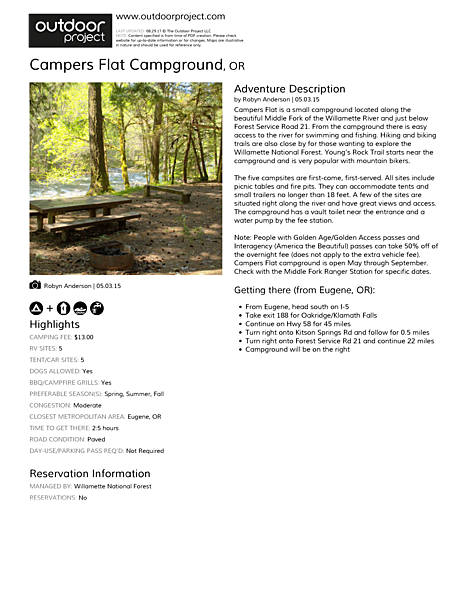 Campers Flat Campground Field Guide