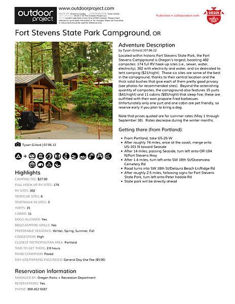 Fort Stevens State Park Campground Field Guide
