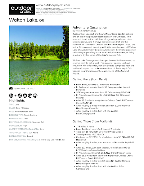 Walton Lake Field Guide