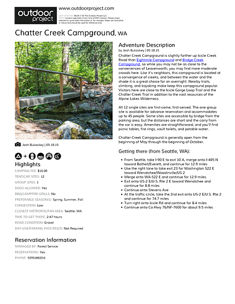 Chatter Creek Campground Field Guide