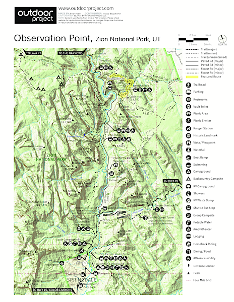 Observation Point Hike Trail Map