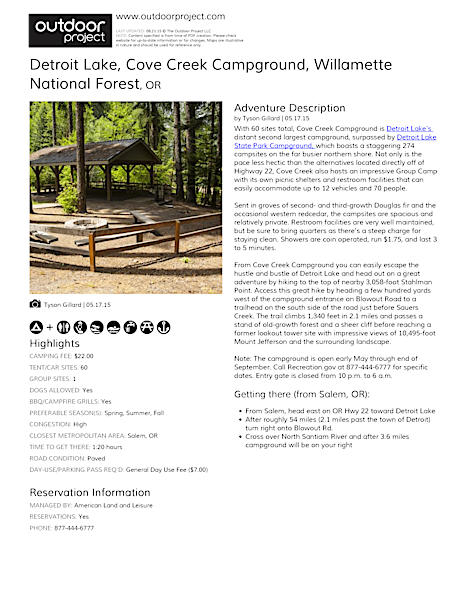 Detroit Lake, Cove Creek Campground Field Guide