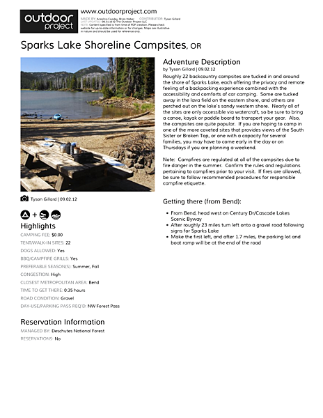 Sparks Lake Shoreline Campsites Field Guide