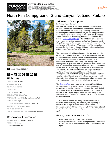 North Rim Campground Field Guide
