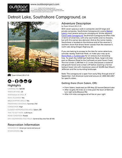 Detroit Lake, Southshore Campground Field Guide