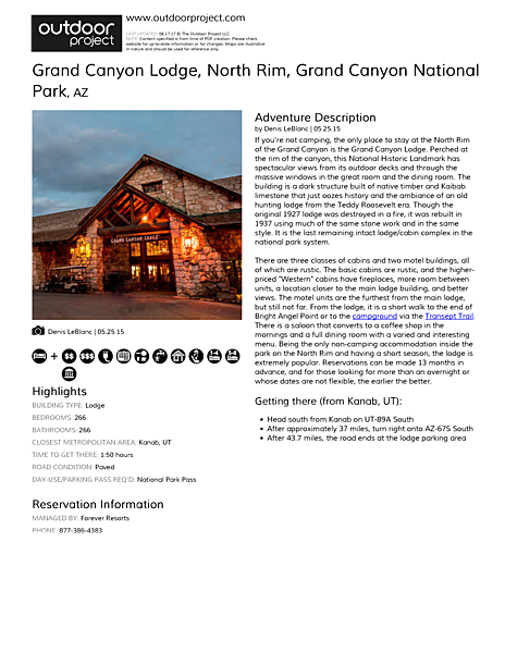 Grand Canyon Lodge, North Rim Field Guide