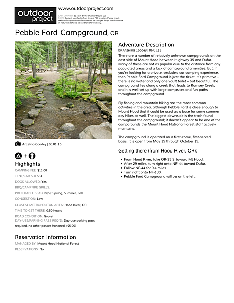Pebble Ford Campground Field Guide