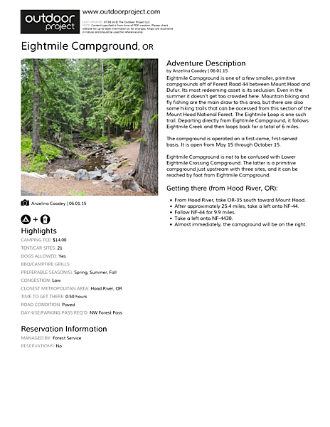 Eightmile Campground Field Guide